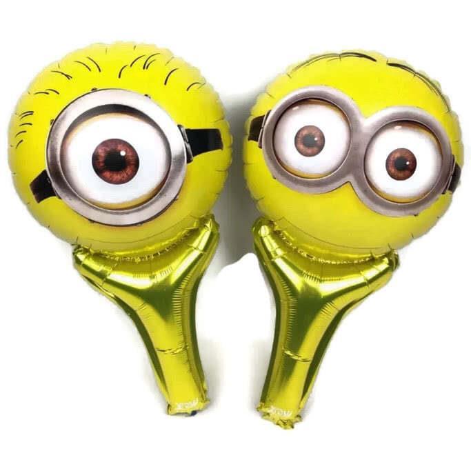 minions face handheld baton foil balloon
