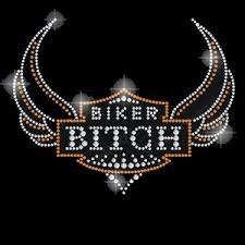 Biker bitch rhinestone transfer