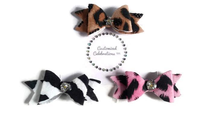 animal print hair bows