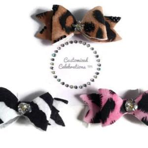 animal print hair bows