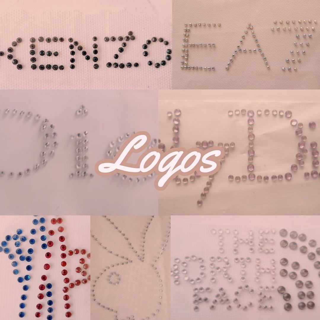 logos famous names rhinestone transfers