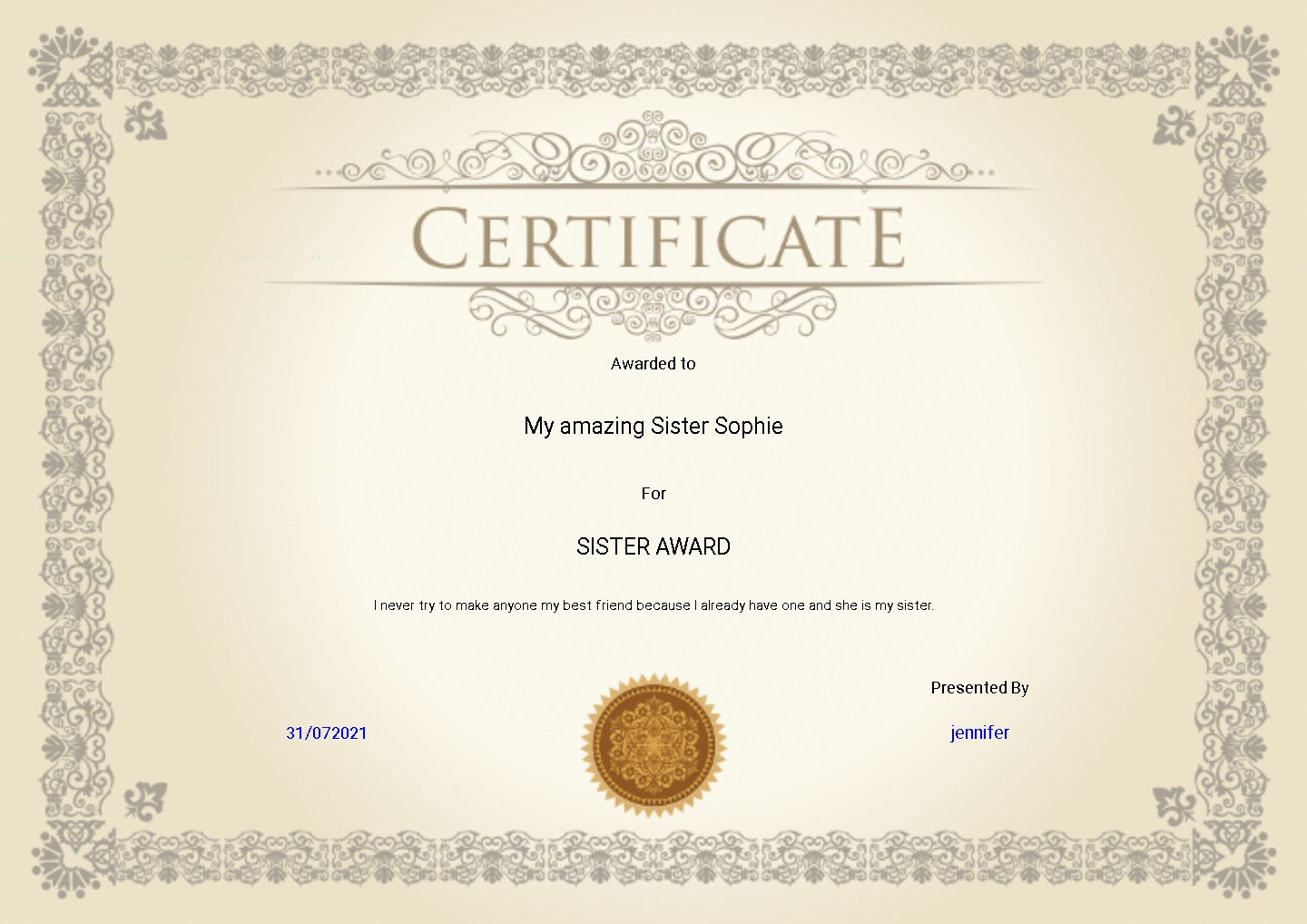 silver personalised gift certificate