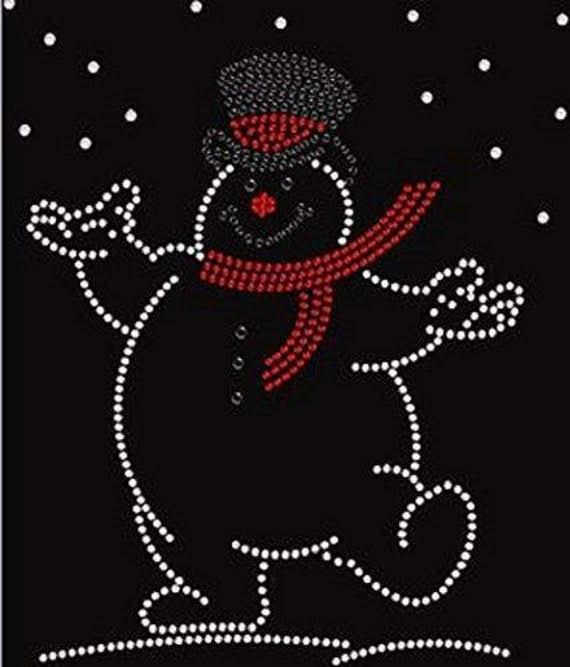 Snowman rhinestone transfer