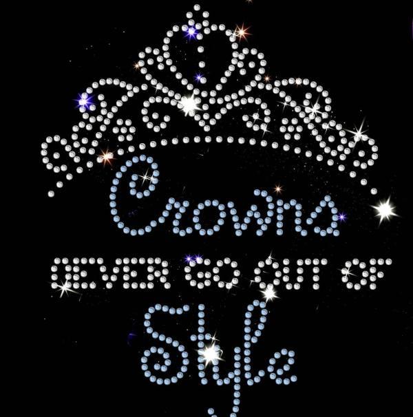 crown slogan rhinestone transfer