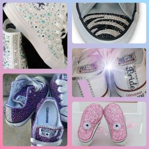 Personalised Crystal Bling Converse Nike YOUR Shoes Colour design bows glitter