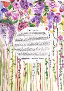 Blooming Ketubah, Circular Shape Text
