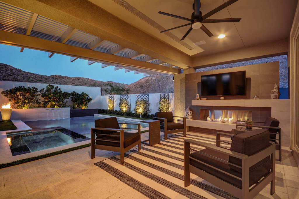 Custom Outdoor Living Below Ground Inset with Media Wall