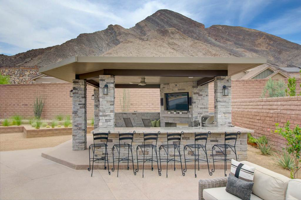 Desert Oasis Patio Cover and Outdoor Kitchen with Media Wall and Bar