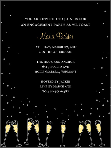 Shutterfly Engagement Invitation Champagne Glasses