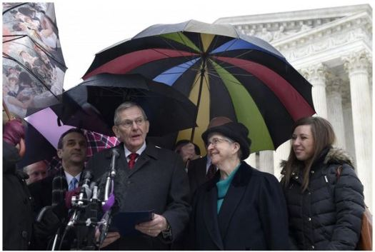 good news church paster clyde reed outside Supreme Court
