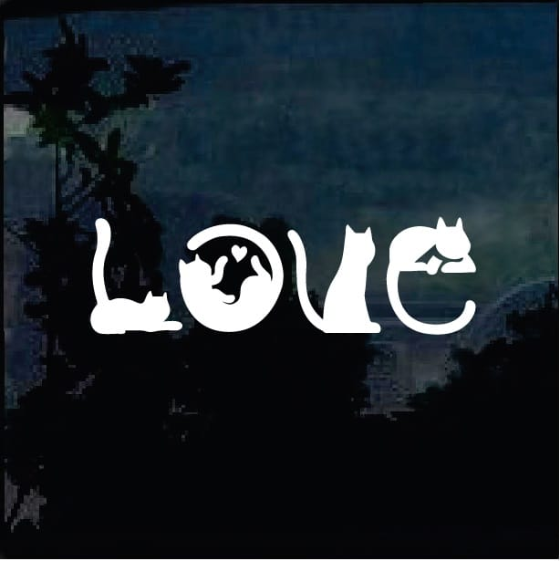 Download Love Cats Silhouette Decal - Cat Stickers - Custom Sticker ...