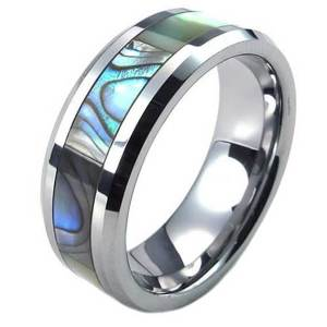 Mens-8mm-Silver-Tungsten-Abalone-Stripe-Inlaid-Engagement-Wedding-Ring-2