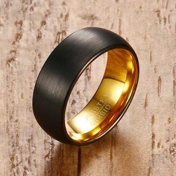 black matt surface-with-gold-inner-lining-tungsten-ring-uk