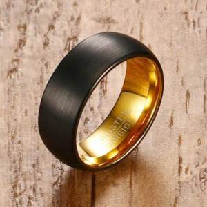 black matt surface-with-gold-inner-lining-tungsten-ring-uk