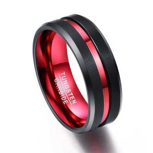 black-with-single-red-line-tungsten-ring