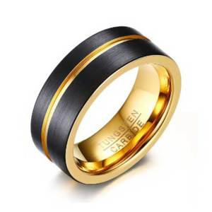 Mens-8mm-Gold-and-Black-with-Gold-Grooved-Stripe-Tungsten-Ring