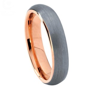 mens 6mm brushed effect silver and rose gold tungsten ring