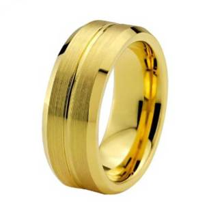 Mens 8mm Bevelled Edged Brushed Matt Finished Gold Tungsten Ring
