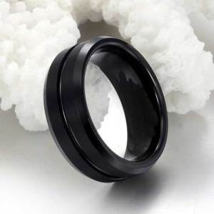 mens 8mm black tungsten ring with single stripe
