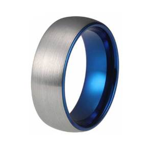 mens 8mm brushed silver tungsten ring with blue lining