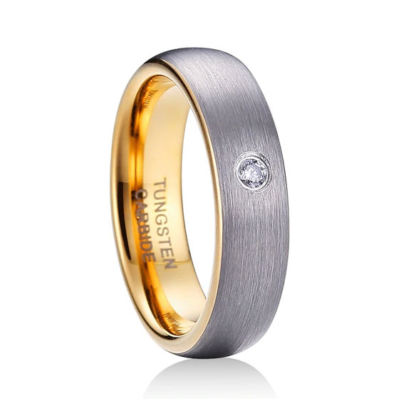 5mm Silver and Gold Dome Tungsten ring CZ Stone