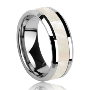 Mens 8mm Tungsten Ring with White Mother of Pearl Inlay