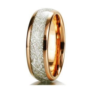 ladies 6mm rose gold with meteorite inlay tungsten ring