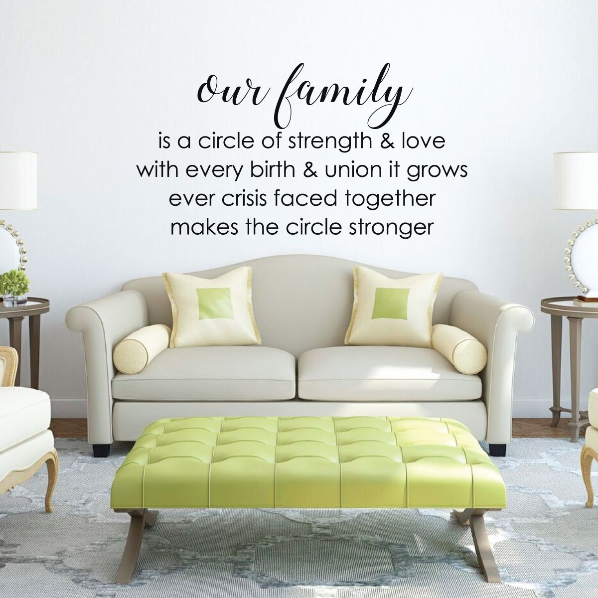 Family Circle Strength Living Room Vinyl Decor Wall Decal