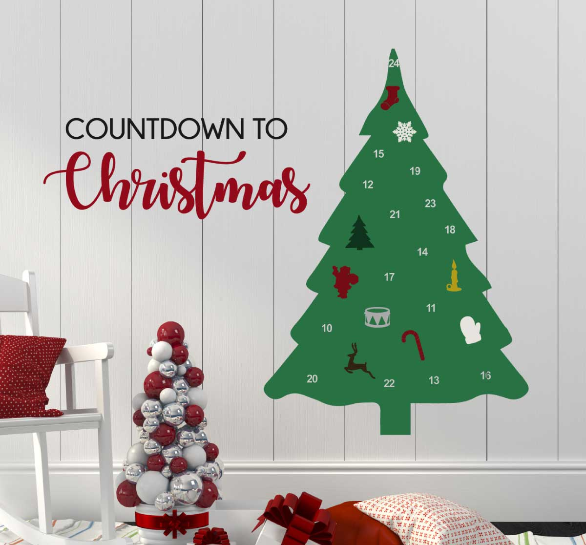 Advent Calendar Numbered Christmas Tree And Ornaments Wall