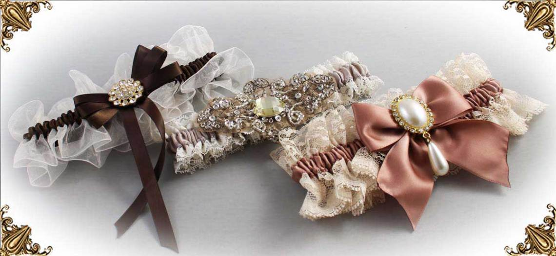 Ivory-and-Brown-Wedding-Garters-Bridal-Garter-Prom-Garters-Custom-Wedding-Garter-Linda-Joyce-couture