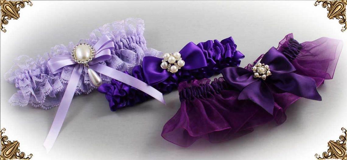 Purple Wedding Garters-Bridal-Garter-Prom-Garters-Custom-Wedding-Garter-Linda-Joyce-couture