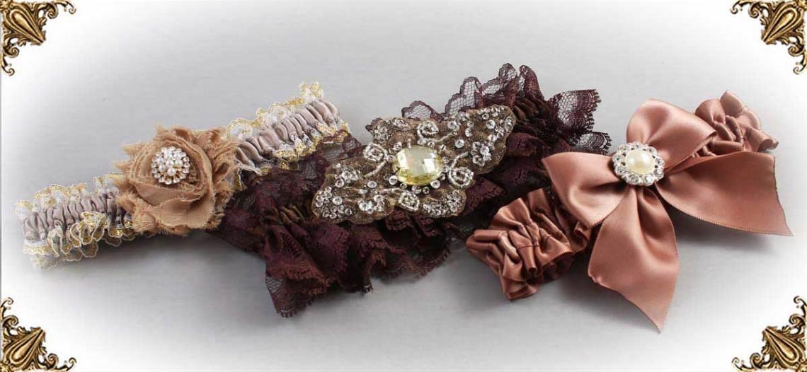 Brown Wedding Garters-Bridal-Garters-Prom-Garters-Custom-Wedding-Garter-Linda-Joyce-Couture