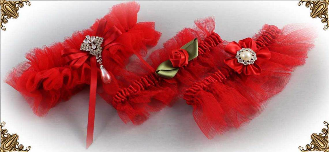 Solid-Red-Wedding-Garters-Bridal-Garter-Prom-Garters-Custom-Wedding-Garter-Linda-Joyce-couture
