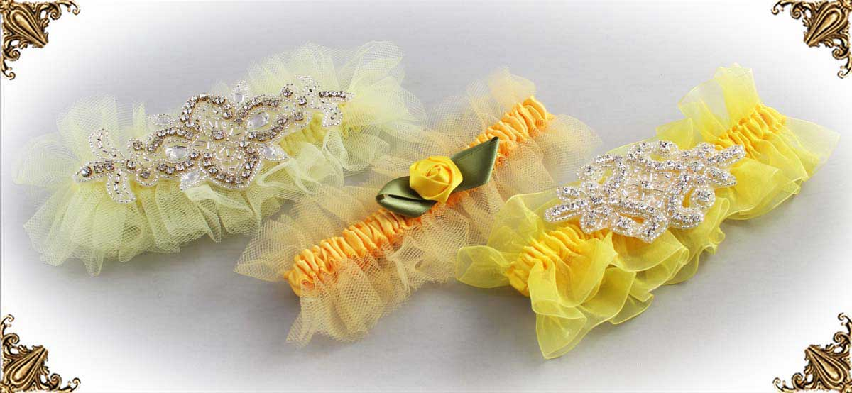 Solid-Yellow-Wedding-Garters-Bridal-Garter-Prom-Garters-Custom-Wedding-Garter-Linda-Joyce-couture