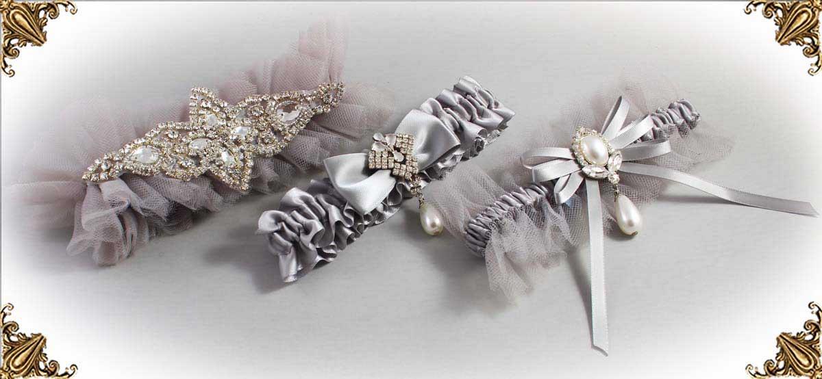Grey Wedding Garters 012-Bridal-Garter-Prom-Garters-Custom-Wedding-Garter-Linda-Joyce-couture