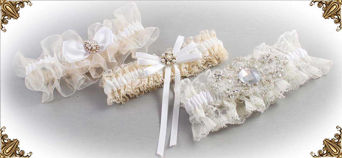 Ivory and White-Wedding-Garters-Bridal-Garter-Prom-Garters-Custom-Wedding-Garter-Linda-Joyce-couture
