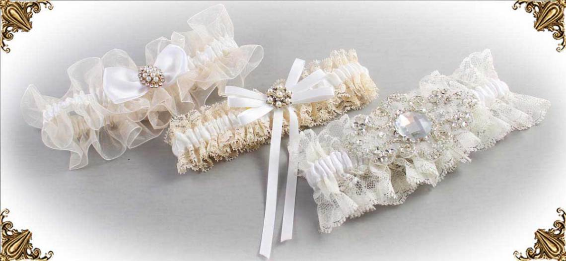 Ivory and White-Wedding-Garters-Bridal-Garter-Prom-Garters-Custom-Wedding-Garter-Linda-Joyce-couture