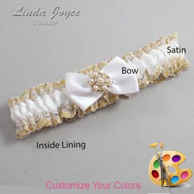 Customizable Wedding Garter / Becky #04-B21-M27-Silver