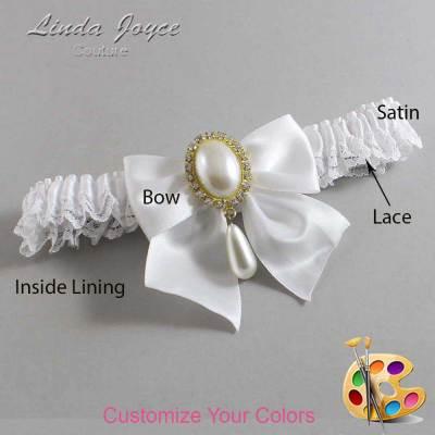 Customizable Wedding Garter / Michaela #09-B01-M34-Gold