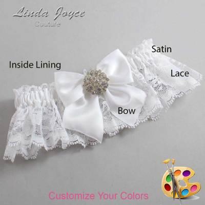 Customizable Wedding Garter / Elizabeth #10-B01-M11-Silver