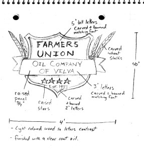 Farmers Union sign sketch