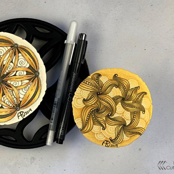 Zentangle on Gold Cardstock