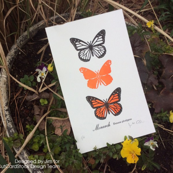 Letterpress Butterfly Print from Two-Color Wood Dies