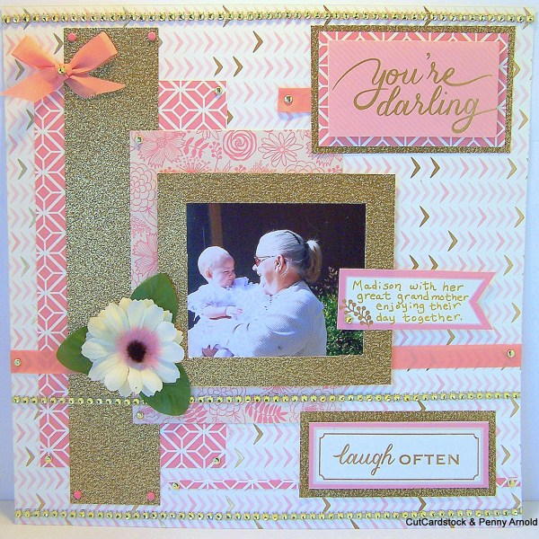 How to Make a Great Grandmother Layout With Glitter Cardstock