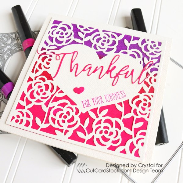 Thankful For Your Kindness Die-cut Sparkle Card