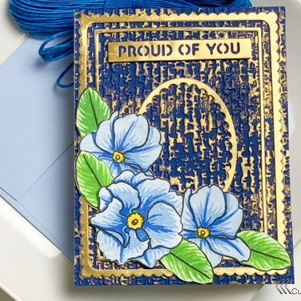 Metallic Frames: Gold and Navy Layered Card