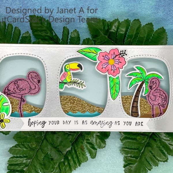 Tropical Slimline Shadow Box – Silver & Gold in the Summer? Yes!!
