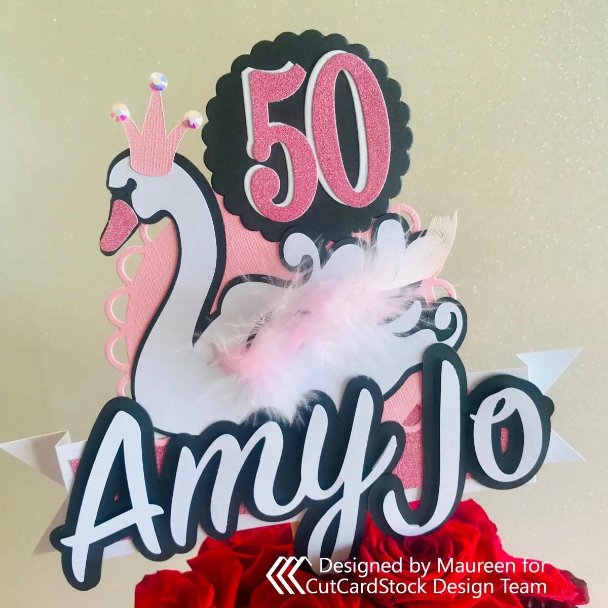 Swan Birthday Cake Topper / Floral Pick