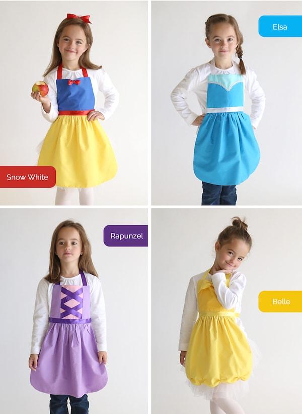 apron02 min - ディズニーハロウィン 子供の仮装にぴったり 〜 簡単 早い 安い「プリンセスエプロン」