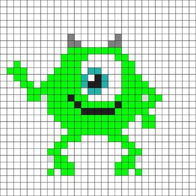 beads019 min - ディズニーキャラクター かわいいアイロンビーズ図案が無料でダウンロードできる!!